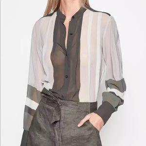 New Equipment Sinteine Pleated Silk Shirt